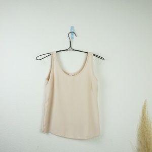 Cuyana 100% silk blush scoop neck tank top